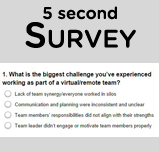 5 second Survey. What is the biggest challenge you've experienced working as part of a virtual/remote team?